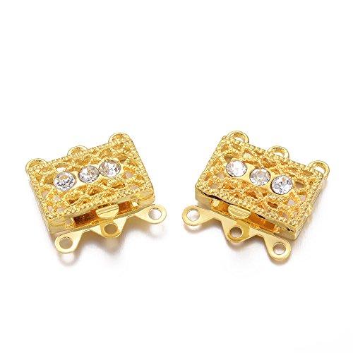 Pandahall 2Sets Metal Tone Brass Rhinestone Clasps Multi-strand Box Clasps 3-Strand Rectangle Filigree Clasps Jewelry Findings 18x17x1.5mm Golden