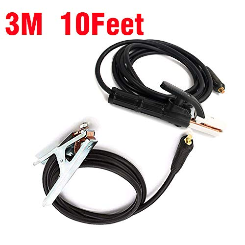 TOSENBA Welding Stick Electrode Holder and Ground Clamp Earth Cable 3M 10Feet 16mm²Connector DKJ10-25 for ()