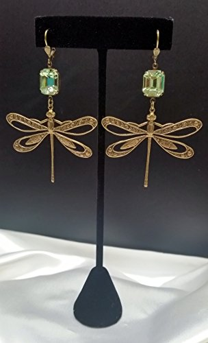 Swarovski Dragonfly Earrings - Chrysolite Green with Antique Gold-Plating