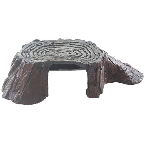 - Emours Tree Stump Turtle Hideout Resin Basking Rocks Bearded Dragon Accessories Reptile Amphibian Fish Tank Decor Small