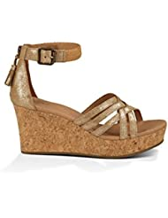 UGG Womens Lillie Metallic Chestnut Gold Coast Suede Sandal