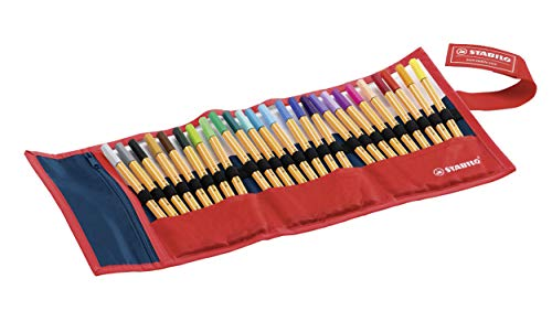 Stabilo Point 88 Fineliner Pens, 0.4 mm - 25-Color Rollercase Set by Stabilo (Image #1)