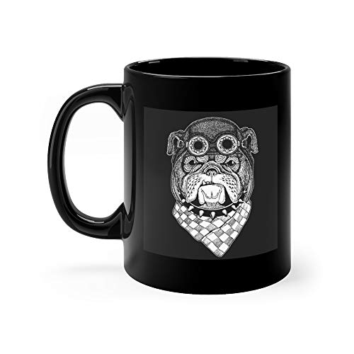 Bulldog Hand Drawn Vintage Image Tattoo Emblem Badge Logo Patch Cool Animal Wearing Aviator Motorcycle Biker Helmet Quote Funny Mugs Cups Cup Ceramic 11 Oz