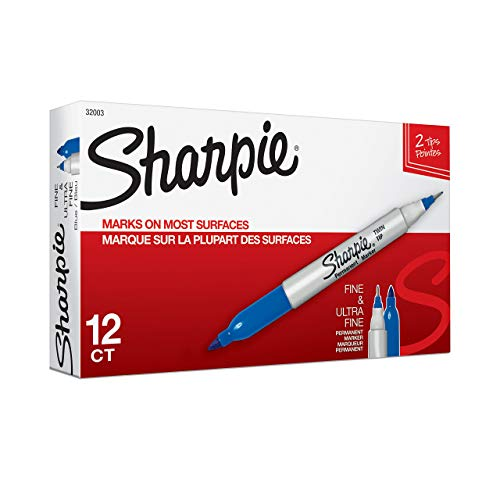 (Sharpie 32003 Twin Tip Fine Point and Ultra Fine Point Permanent Marker, Blue, 12-Pack (Renewed))