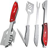 Kona Multi Grill Tool Set - Removable Grilling Spatula, Fork & Tongs - Beautiful Gift Box, for Camping, Hiking & Grill Lovers