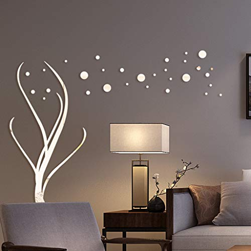 HIKO23 3D Acrylic Polka Dot and Tree Shape Wall Sticker DIY Removable Fashion Stickers Decoration Creative Decals Home Decor for Living Room Bedroom Bathroom (Silver)