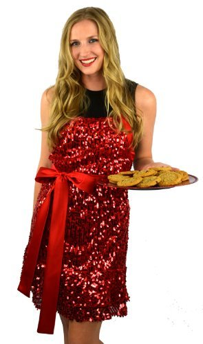 """Glamour Girl"" - Red Sequin Apron by Domestic Glitz"