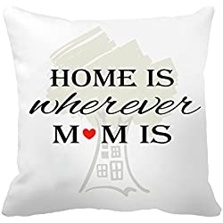 "Poppylife Home is Where Mom is Design Throw Pillowcase Cushion Cover - Birthday Gift, Christmas Gift 26""x 26"""