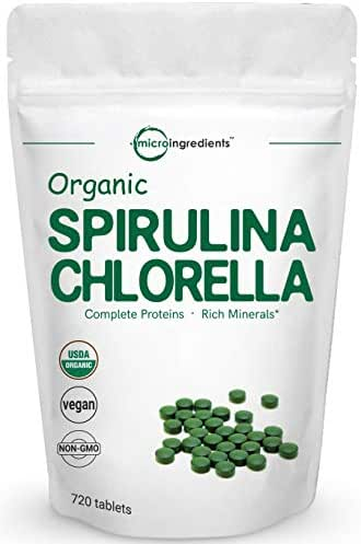 Organic Chlorella Spirulina 3000MG, 720 Tablets, 120 Servings (4 Months Supply), Rich in Antioxidant, Prebiotics, Chlorophyll, Amino Acids, Fiber and Proteins, No GMO and Vegan Friendly