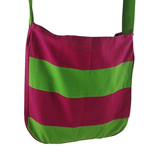 inhoma Borsa da spiaggia Borsa a tracolla borsa a spalla in stile tote bag | | | Stripes Purple Verde | Tote Bag stile | 130cm lunga tracolla | 45x 40cm | 12litri | inhoma24WOW Shopper | 100% cot