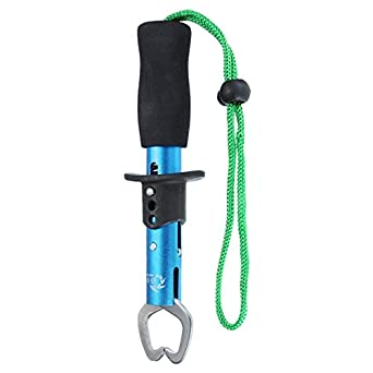 Blue Stainless Steel Fishing Lip Grip Grabber Trigger Gripper Tool