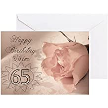 CafePress - 65Th Birthday For Sister, Pink Rose - Greeting Card, Note Card, Birthday Card, Blank Inside Glossy
