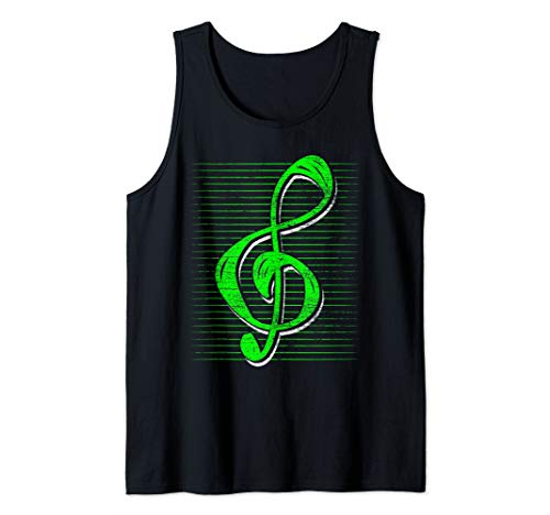 Vintage Musician Musical Instrument Music Gifts Treble Clef Tank Top ()