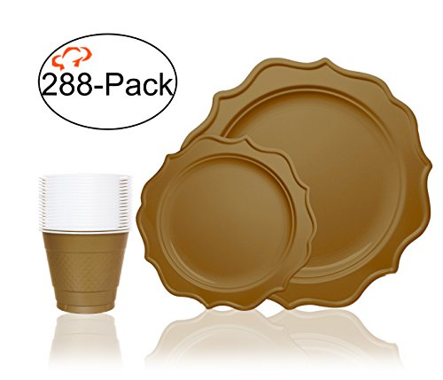 Tiger Chef 288-Pack Gold Color Heavy Duty Scalloped Rim Disposable Party Supplies Set for 96 Guests, includes 96 10-Inch Dinner Plates, 96 8-Inch Hard Plastic Plates and 96 9-Ounce Cups - Solid Rims Gold