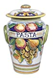 Hand Painted Bianco Fresco Pasta Canister - Handmade in Deruta