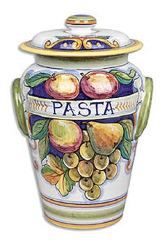 Hand Painted Bianco Fresco Pasta Canister - Handmade in Deruta by Italian Pottery Outlet
