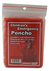 Children's Emergency Poncho, Weather Protection, Rain Gear, Emergency Zone Brand (1 Pack)
