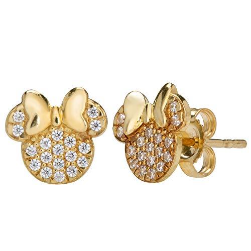 Disney, Minnie Mouse 14kt Gold Cubic Zirconia Silhoutte Stud Earrings