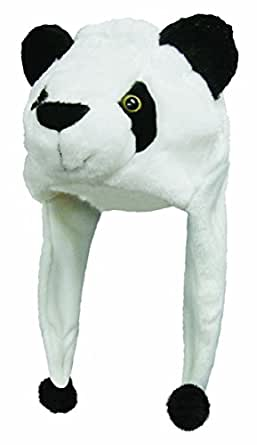 Choose From Over 25 Animals! - Plush Faux Fur Animal Critter Hat Cap - Soft Warm Winter Headwear - Short with Ear Poms and Flaps & Long with Scarf and Mittens Available (Critter - Panda)