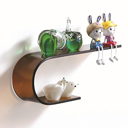 Fab Glass and Mirror FGM-L-U001 Tranquility Glass Wall Shelf, Brown Curved Glass Wall