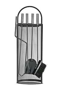 Premier Housewares - Juego de 4 accesorios de hierro para chimenea, incluye cepillo, tenazas, recogedor, atizador y soporte, mangos de acero inoxidable, color negro