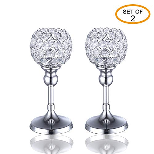 V.C.Formark Silver Crystal Candle Holders,Wedding Gift and Valentines Gift Modern House Decor for Fireplace Coffee Table Mantle Decor Centerpieces(1 Pair)