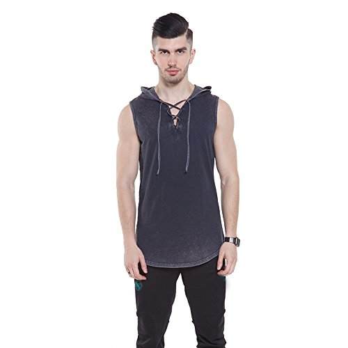 JannyBally Men Hoodie T Shirt Sleeveless Lace up V Neck Black Cool Muscle Hipster ()