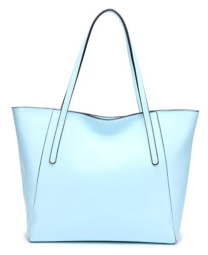 CHERRY CHICK Women's Genuine Leather Large Purse Tote Handbag Summer Ideal Gift (Baby Blue-9816) - Blue Bag Leather