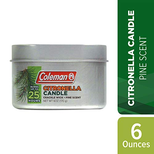 Coleman Pine Scent Citronella Candle with Wooden Crackle Wick - 6 oz Tin
