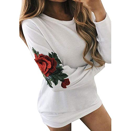 FUNIC Womens Shirt, Women Rose Embroidery Long Sleeve Long Sweatshirt Pullover Tops Blouse (L, White) by FUNIC
