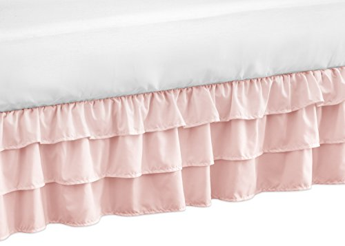 Solid Color Blush Pink Shabby Chic Girl Ruffled Tiered Crib Bed Skirt Dust Ruffle for Harper Collection by Sweet Jojo Designs Shabby Chic Shabby Bedskirt
