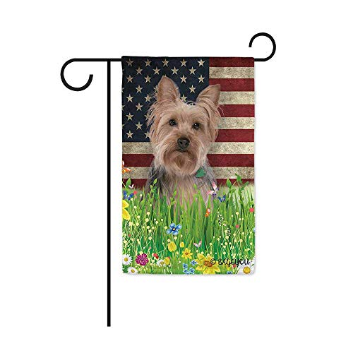 BAGEYOU Cute Puppy Yorkie Garden Flag Lovely Pet Dog American US Flag Wildflowers Floral Grass Spring Summer Decorative Patriotic Banner for Outside 12.5x18 inch Printed Double Sided