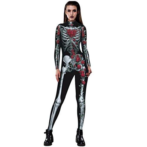Descendants Set It Off Costumes (Coerni Fashion Rose Skeleton Breathable Halloween Costume Jumpsuit for Women (M, Red))
