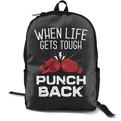 (Durable Polyester Daypack Red Boxing Gloves Black Travel Hiking & Camping Rucksack - Big Capacity Multipurpose Anti-Theft Shoulder Bag for Men Women Girls Boys)