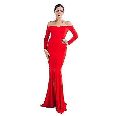 Miss ord Missord Women's Long Sleeve Word Shoulder Mermaid Floor Length Dress Party Gown