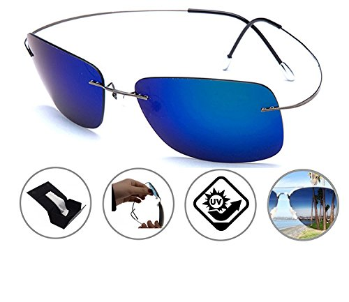 Zando Rimless Lens Titanium Unbreakable Frame Polarized Lightweight Sunglasses - Shapes Different Sunglasses