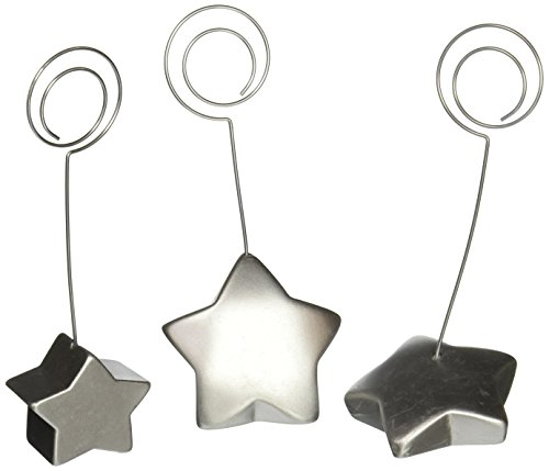 (Displays2go Set of 45 Memo Clip Place Card Holders, Assorted Star Bases, Silver Metal (STR3CRCLE))