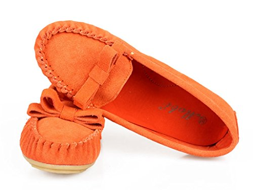 CRC Womens Fashion Comfortable Suede Leather Driving Walking Trail Running Boat Loafers Flats Multi Colored Orange K4QeP