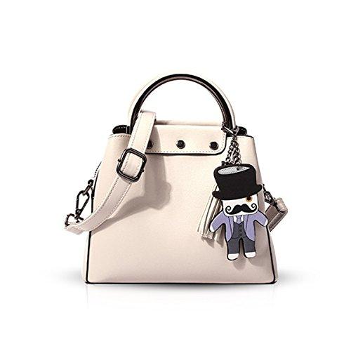 NICOLE&DORIS 2018 nueva moda para mujer bolsos y bolsos de las señoras bolsa de hombro Diseñador Satchel asa superior bolsa de asas(Cremoso-blanco) Cremoso-blanco
