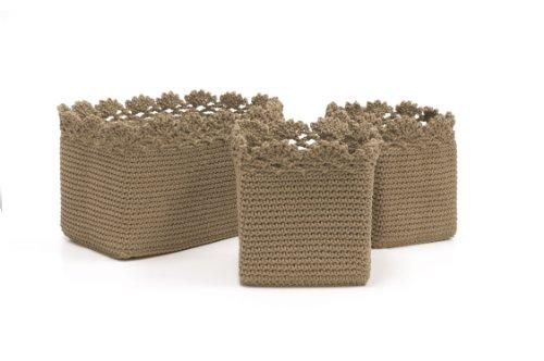 Mode Cr.Set/3 Basket W/Crochet Trim, Tan