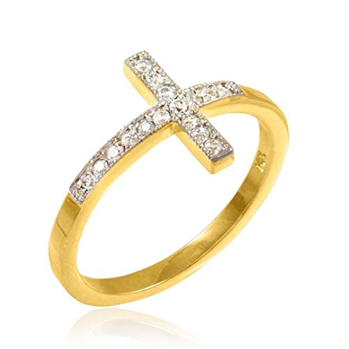 10k Gold Sideways Cross Ring with Diamonds