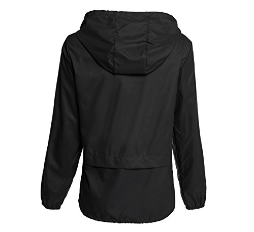 Hount Women's Lightweight Hooded Raincoat Waterproof Packable Active Outdoor Rain Jacket (Black, XL)