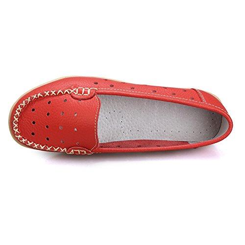 Pelle Lucksender Donna Scava Fuori Scarpe Morbide Piatte Materiale Morbido Rosso
