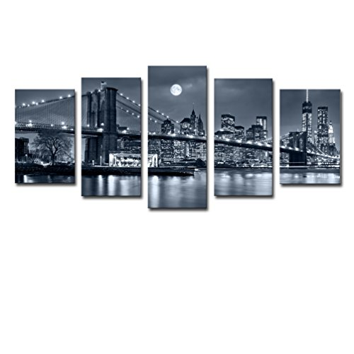 New York Small Poster (Noah Art-Modern Bridge Artwork, Brooklyn Bridge New York Night View Landscape Wall Art Black and White Architecture Pictures on Canvas Print, Large 5 Pc Cityscape Art Framed Home Decor for Living Room)