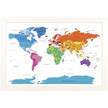 Amazon push pin world travel map with textured white frame and colorful world push pin travel map with textured white frame and pins 24 x 36 gumiabroncs Image collections