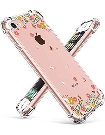 cb988493565 GVIEWIN Clear Flower iPhone 8 Case/iPhone 7 Case, Soft TPU Silicone Ultra-