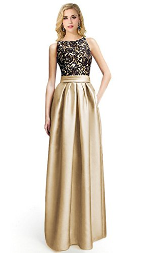 Women's Sleeveless Lace Bodice Ruched Waist Evening Gown Prom Dresses (Ruched Bodice Gown)