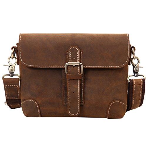 Leathario bolso bandolera de color marrón con La primera capa de cuero de caballo loco para hombres café