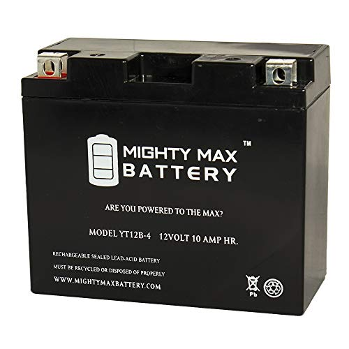 Mighty Max Battery YT12B-4 SLA 12V 10Ah Replacement for GS-GT12B-4, WP12B-4 Battery Brand Product
