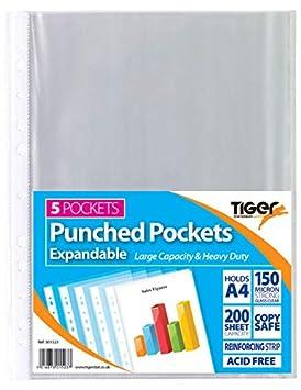 Tiger 301523 Stationery - Carpeta, A4, 5 paquetes x 5 unidades=total de 25 unidades: Amazon.es: Oficina y papelería